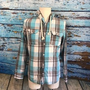 Other - Ditch Plains Hoodie Shirt S Turquoise Grey Plaid